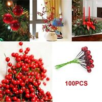 50/100Pc Mini Berry Manmade Red Holly Berries 10mm Home Bouquet Christmas Decor