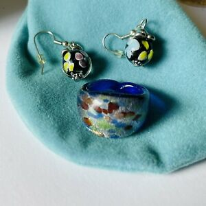 Lot Art glass Earrings And Ring
