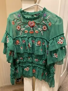 Zara Woman Green Floral Embroidered Tulle Organza Blouse Size S