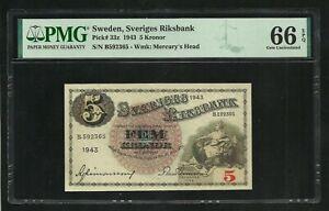 Sweden : 5 Kronor 1943 ; PMG : Gem UNC 66 ; EPQ