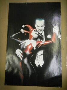 HARLEY QUINN AND THE JOKER DC COMICS 34 X 22 ROLLED PROMO POSTER 1999 ALEX ROSS