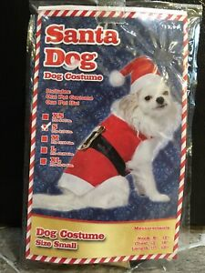 """Santa Dog HALLOWEEN Costume SIZE Small 8-13 Pounds Neck 8-12"""" Chest 13-16"""" New"""