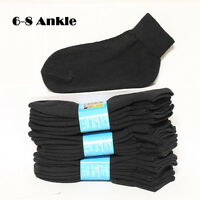 d836e264be01 4 12 Pairs Kids Cotton Socks Ankle High Solid Black Heavy Junior Size 6-8