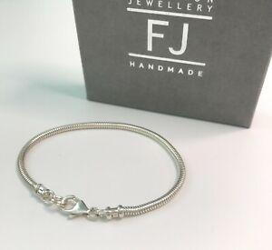 Mens Sterling Silver 3mm Snake Chain Bracelet, Solid 925 Silver Handmade Gift
