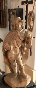 Antique Italian Wood Carved Figure Of A Night Watchman