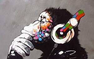 Banksy - Dj Monkey Animal Graffiti Wall Art Photo Poster / Canvas Pictures