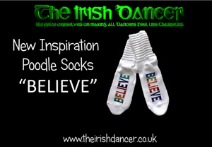 Irish dance poodle socks with Believe Print - Ultra Low all sizes