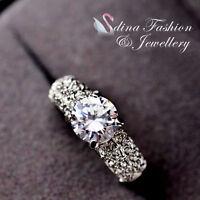 18K White Gold GP Made With Swarovski Element Round Cut Engagement Wedding Ring