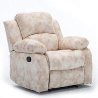 Modern Recliner Chair Velvet Manual Overstuffed Lounge Soft Sofa Padded Armrest