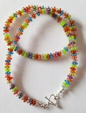 New Handmade Ladies Multi Coloured Round Flat Beaded Heart Toggle Necklace