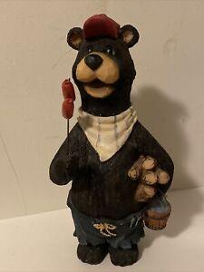 BBQ Black Bear Camping Figurine Yard Garden Statue Camping Outdoors Resin