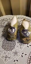 """ANTIQUE GREEN OIL CLOTH OIL DOLL SHOES metal buckle bows 2 7/8"""" L 1 3/8"""" w"""