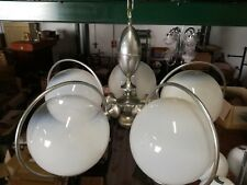 Lampadario vintage Mazzega vetro Murano acciaio 1970 lampada 5 luci  70x80cm