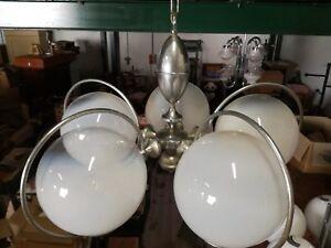 Chandelier Vintage Mazzega Glass Murano Steel 1970 Lamp 5 Lights 70x80cm