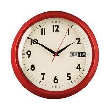 Premier Housewares Orologio da parete, rosso in metallo, giorno/data
