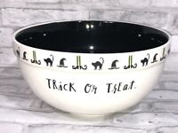 Rae Dunn Black White Huge Trick or Treat Bowl Halloween Candy Dish EUC Retired