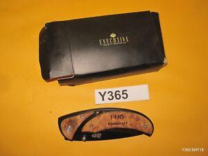 Executive Gift Shoppe Burl Wood & Black Steel Pocket Knife