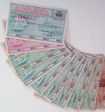 Lotto Banca Credito Agrario Bresciano di mini-assegni anni '70