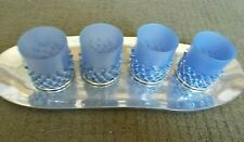 Set of 4 Blue Silver With Beads Votive Candle Holders on Silver Tray