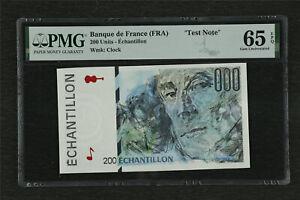 """Banque de France (FRA) """"Test Note"""" 200 Francs PMG 65 EPQ Gem UNC"""