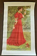 "Vintage 1940 -1950 Budweiser Girl in a Red Dress Poster 20"" x12"" Nos"