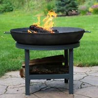 """Sunnydaze 30"""" Fire Pit Cast Iron Wood-Burning Fire Bowl with Built-In Log Rack"""