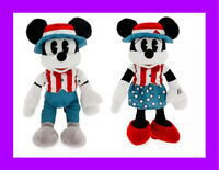 """🌴Disney Parks Mickey & Minnie Mouse Two Americana Plush Red White Blue 11"""" NEW"""