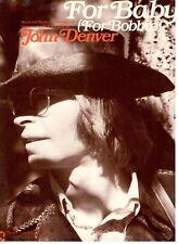 """JOHN DENVER """"FOR BABY"""" SHEET MUSIC (FOR BOBBIE) PIANO/VOCAL/CHORDS-RARE-1972-NEW"""