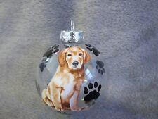 """HAND MADE GOLDEN RETRIEVER DOG 3"""" GLASS CHRISTMAS ORNAMENT/BALL"""