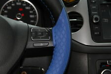 "Black 15"" Leather Blue Strip Steering Wheel Cover Wrap w/Needle & Thread 47020"