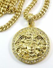 "HOT NEW 35mm Ice out GOLD FINISH MEDUSA HEAD MEDALLION PENDANT CHARM 24""CHAIN us"