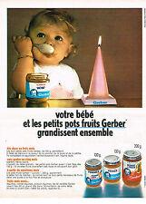 PUBLICITE  1970   GERBER aliments bébé partits pots fruits