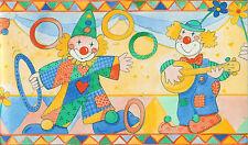 "0435-2-) 1 Rolle Kinderzimmer  Borte Tapeten Bordüre ""bunte Clowns"""