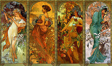 Times of the Year 30x44 Hand Numbered Edition Art Print by Alphonse Mucha