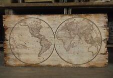 bois décoration murale Tableau CARTE DU MONDE STYLE ANTIQUE SHABBY colonial