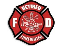 Red Retired Firefights Maltese Cross EMS Vinyl Sticker Decal 4""