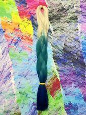 BLONDE TURQUOISE BLUE TRANSITIONAL KANEKALON JUMBO BRAID DREADS OMBRE HAIR