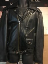 Cooper Collections Black Cowhide Motorcycle Racer Jacket  #C7-1300 size XL