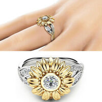 Women Silver Floral Round Diamond Flower Gold Sunflower Jewelry Party Rings Band