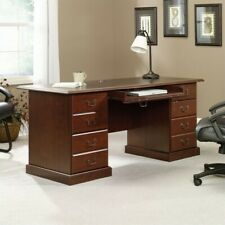 Sauder Heritage Hill Executive Desk In Cherry With Black Inlay Top