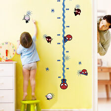 Baby Spider man Height Chart Wall Sticker Nursery Decor Boys Decal Art Mural DIY