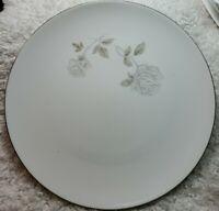 "4 NORITAKE China Rosay Rose 6216 Dinner Plates 10 5/8"" Platinum Trim"