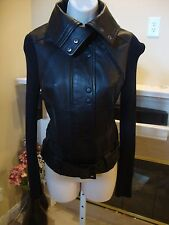 STUNNING NEW ROCK & REPUBLIC BELTED BLACK LEATHER JACKET WITH COTTON SLEEVES