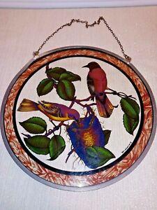 Vintage 1982 Glass Masters Suncatcher wild birds nest robins finch hanging