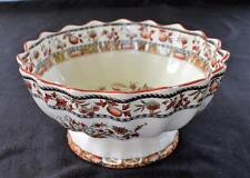 """Antique 1879-1890 W T COPELAND & SONS Earthenware WILD FLOWERS 10"""" Footed Bowl"""