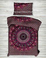 Indian Paisley Mandala Printed Twin Quilt & Pillow Cover Bedspread Blanket Set