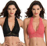 Curve Muse Plunge Bralette with Floral, Black,rose(2 Pack), Size X-Large 4C97