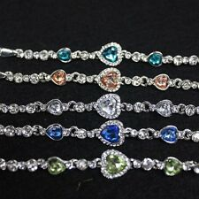 Hot Women Girls Blue Crystal Jewelry Silver Plated  Bracelet Bangle Gift New