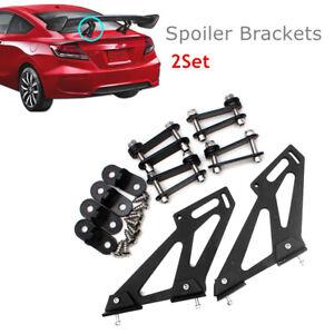 CNC Pair Car Black Rear Trunk Tail Spoiler Wing Side Plates Legs Brackets Mount