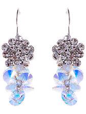 Clear Crystal 3D Flower Above Dangle AB Crystal Grape Cluster earrings VTG
